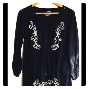 RXB Blk Pullover Ladies Tunic, Wht Embroidering XL